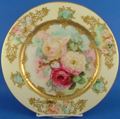 Antique Limoges France Hand Painted Rose Gilt Plate