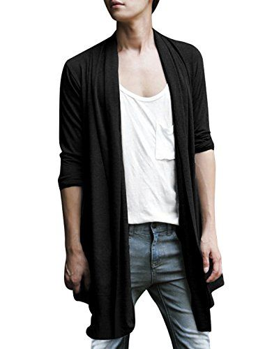 Allegra K Men Shawl Collar High-Low Hem Long Cardigan - http://www.darrenblogs.com/2017/01/allegra-k-men-shawl-collar-high-low-hem-long-cardigan/