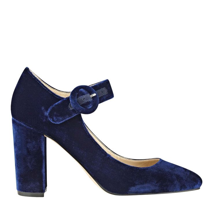 Classic Mary Jane pump with adjustable ankle strap and block heel.