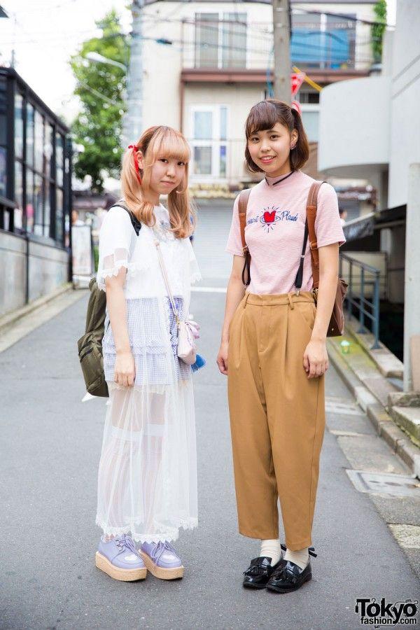 Harajuku Girls in nightwear as outerwear and suspenders fashion
