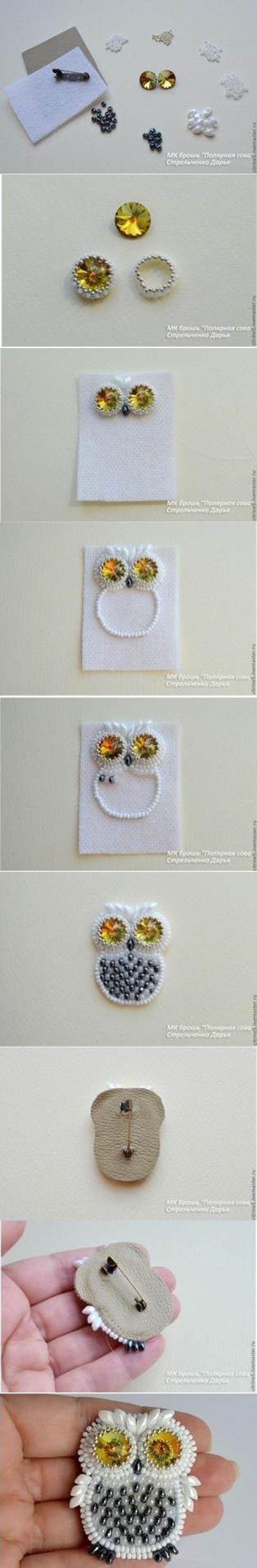 DIY Cute Beads Owl Pin   iCreativeIdeas.com LIKE Us on Facebook ==> https://www.facebook.com/icreativeideas