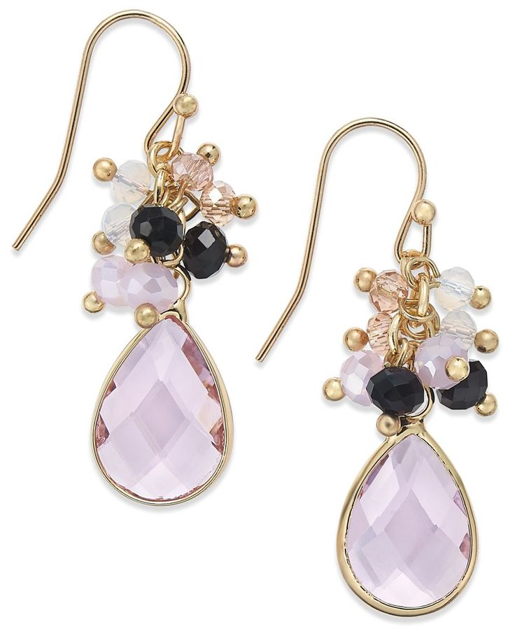 Inc International Concepts Gold-Tone Pink Cluster Teardrop Earrings , Only at Macy's