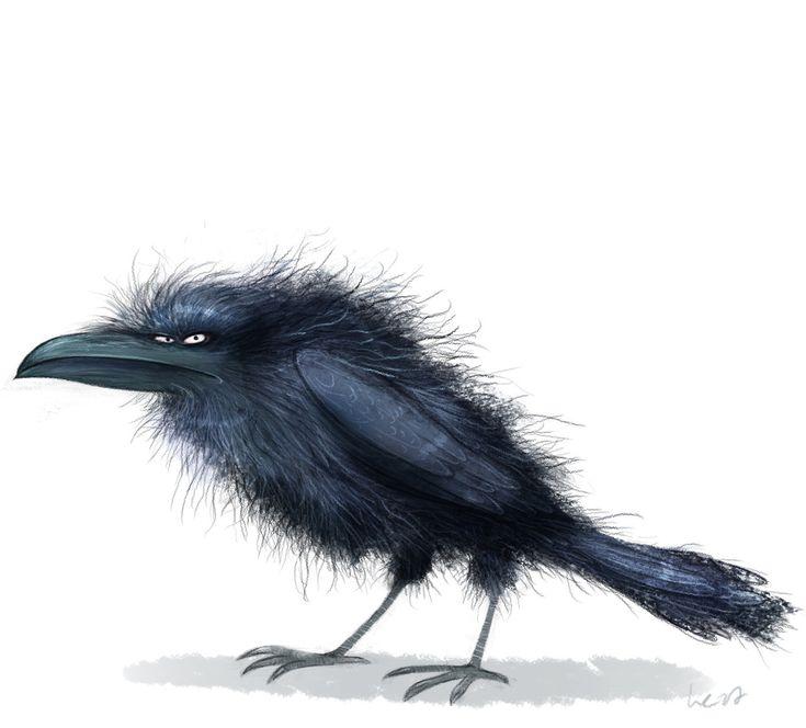Смешной рисунок вороны