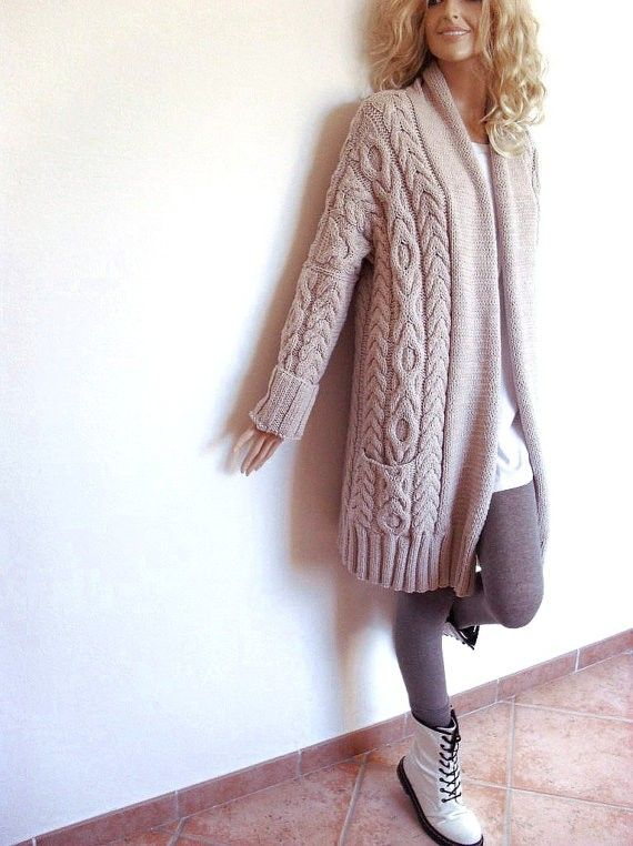 cream oversized cable knit cardigan,  pockets loose cable knitted wrap cardigan