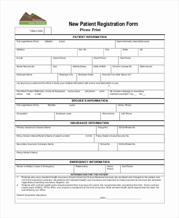 New Patient Intake Form Template New Patient Demographic Template Carbonterialwitness Registration Form Sample Registration Form Curriculum Template