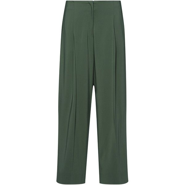 Yok Straight Fit Cropped Trousers | Moda Operandi (6.718.095 IDR) ❤ liked on Polyvore featuring pants, capris, straight leg trousers, cropped capri pants, cropped pants, straight leg pants and cropped trousers