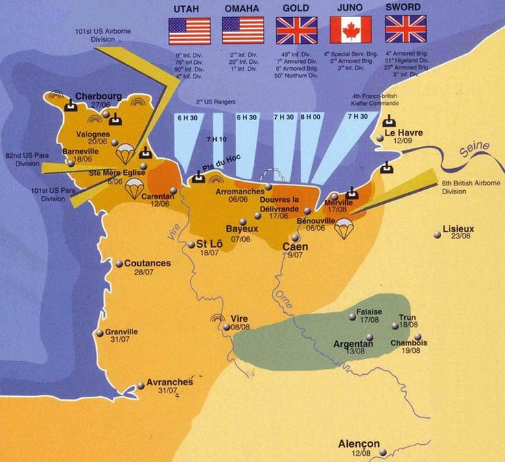 Map of the Battle of Normandy during WWII.  Showing that the British landed at Sword and Gold, the Americans at Utah and Omaha and the Canadians at Juno Beaches.