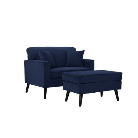 Mid Century Large Accent Chair With Footrest Storage Ottoman Modern Royal Blue Image 3 Of 5