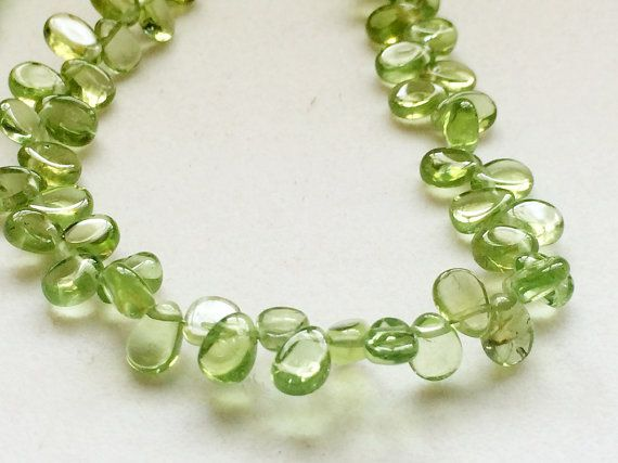 Peridot Beads Natural Peridot Plain Pear by gemsforjewels on Etsy
