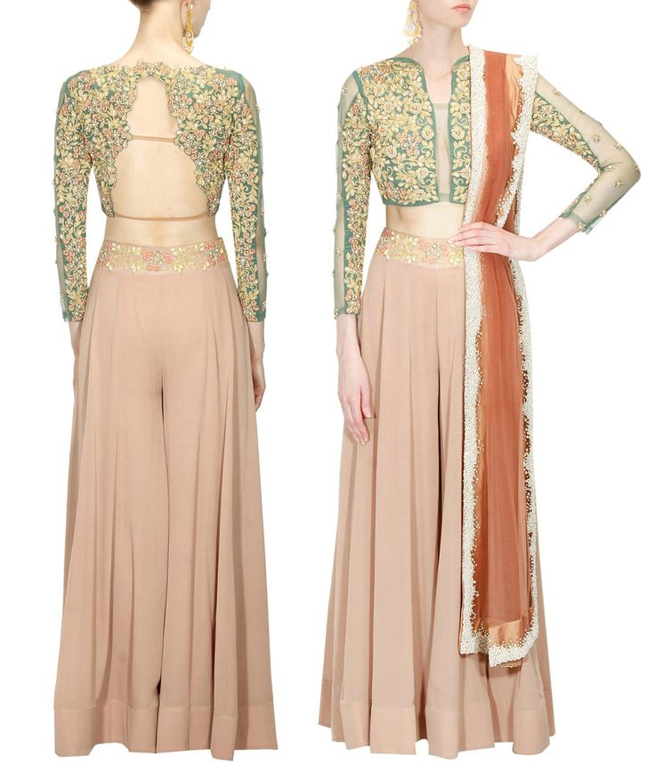 BHUMIKA SHARMA Green rose embroidered blouse with mousse colour sharara and dupatta