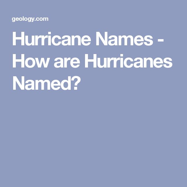 Hurricane Names - How are Hurricanes Named?