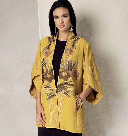 Tulip banded-sleeve kimono jacket sewing patterns by Koos van den Akker for Vogue Patterns. Turn your creative side loose with the details in this design!