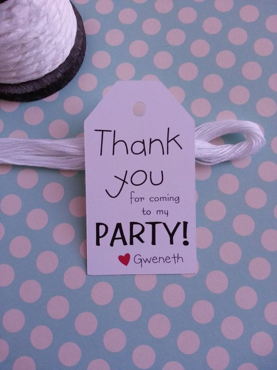 25 Thank you for coming to my PARTY Tags by