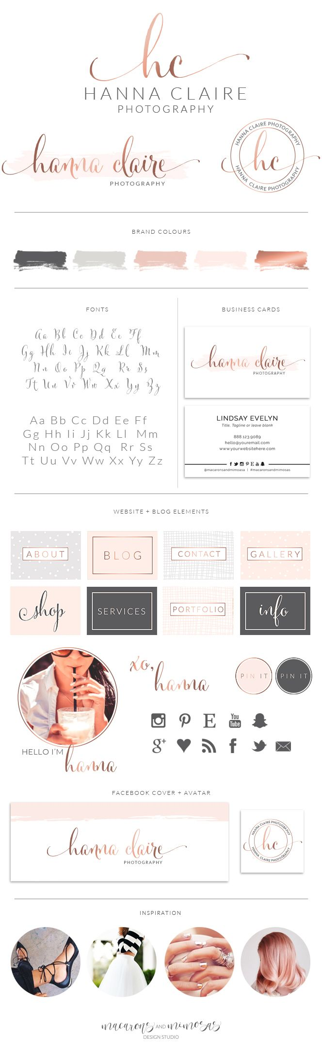 Design Studio, Business Branding, Brand Board, Branding Kit Logo Design, Rose Gold Logo, Blush Pink Color Scheme, watercolor Calligraphy Watercolor, Premade Submark Watermark Stamp, Blogger Photography