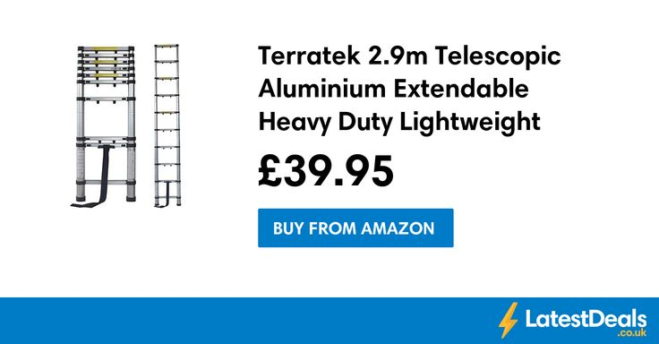 Terratek 2.9m Telescopic Aluminium Extendable Heavy Duty Lightweight Ladder, £39.95 at Amazon