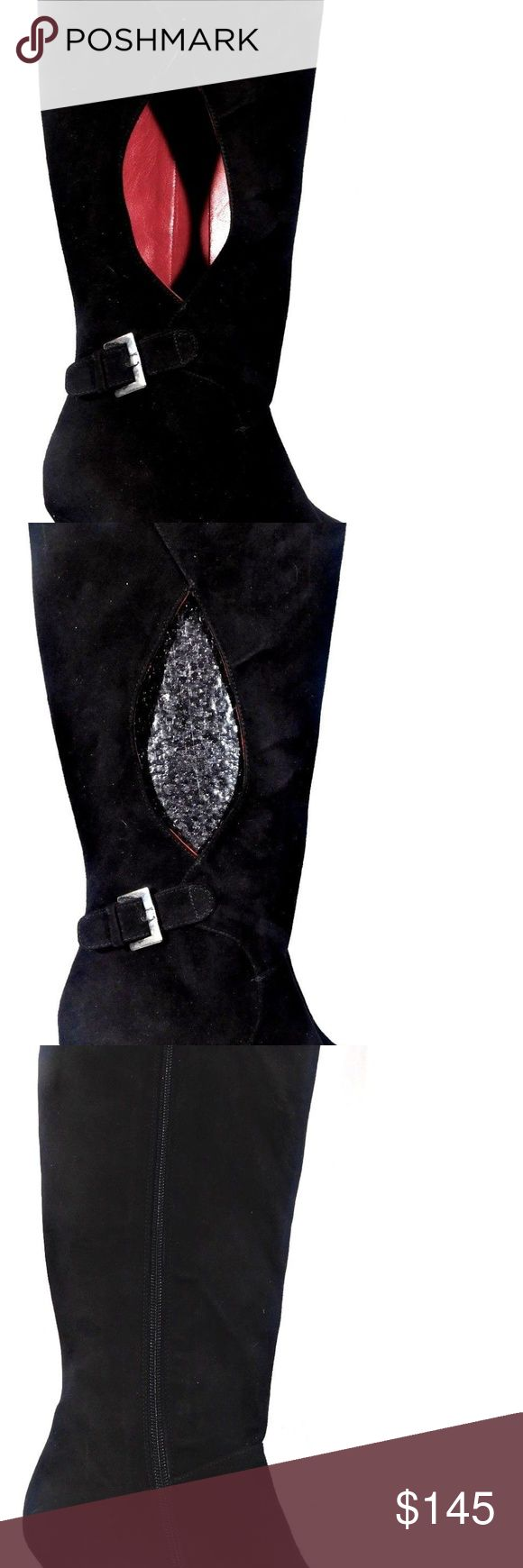 TUCCI SPAIN OLGA HANDMADE BLACK SUEDE BOOTS 7.5M TUCCI SPAIN DESIGNER OLGA HANDMADE BLACK SUEDE BOOTS WITH FULL  ZIPPER AND  SILVER BUCKLE DECORATION AND WINDOW CUTOUT.      SIZE 7.5M           Retail: $375.00 ABSOLUTELY STUNNING WELL MADE BOOTS WINDOW CUTOUTS ARE CRAZY, SHOW YOUR SKIN OR FISHNET  LEATHER UPPER, LEATHER SOLE, RED SOFT AS BUTTER LEATHER LINING     Measurement: Shaft 16 inches Calf:15 inches; Heel: 3 in TUCCI Shoes Heeled Boots