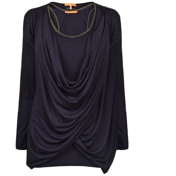 Boss Orange Trapies Top ($96) ❤ liked on Polyvore featuring tops, navy, blue top, navy blue top, boss orange, three quarter sleeve tops and drape top