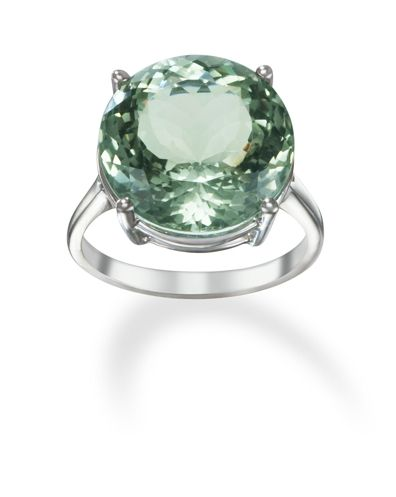 14k White Gold Round Green Amethyst Ring only $795.00 - Cocktail Rings