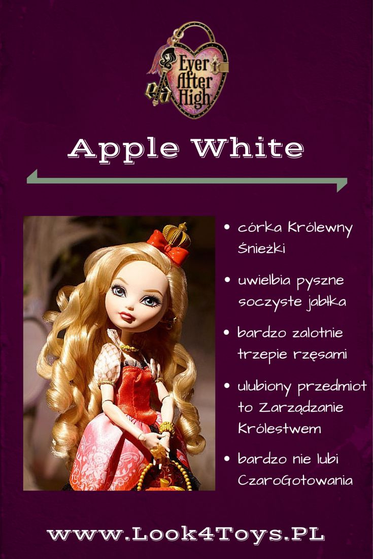 "Apple White - córka Królewny Śnieżki z bajki ""Królewna Śnieżka i siedmiu krasnoludków"". Apple White mieszka i uczy się w Ever After High. #AppleWhite #EverAfterHigh #Look4ToysPL"
