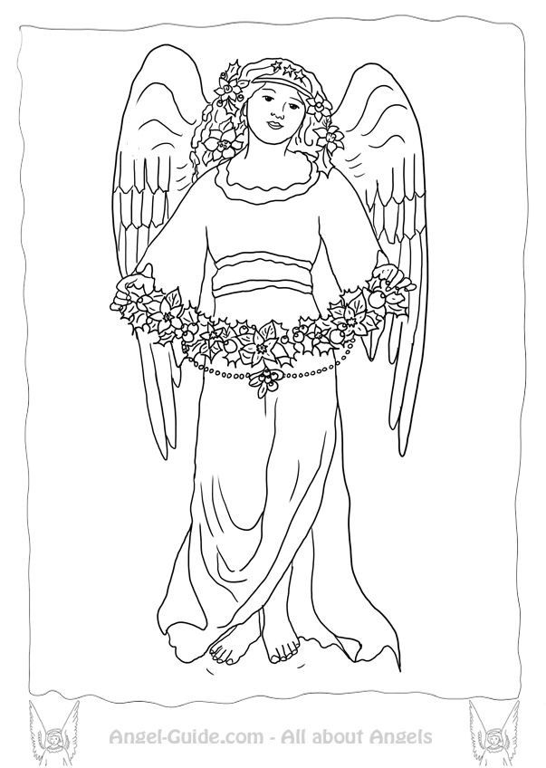 Free Angel Coloring Pages Winter Mistletoe From Our Christmas Angels At