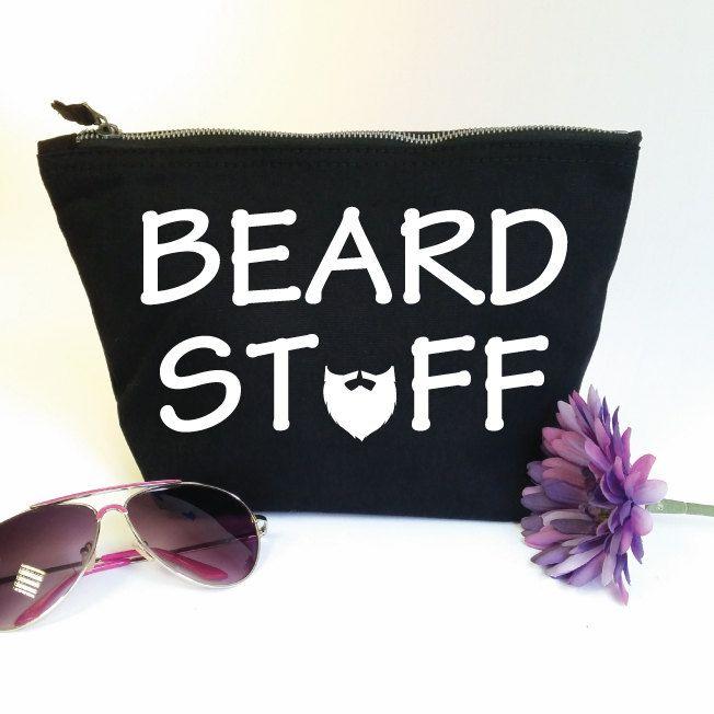 Beard Stuff Accessory Zip Bag. Funny Toiletry Bag. Gift For Him. Dad Gift. Moustache. Beard Bag. Grooming Kit Bag. Beard Stuff Bag. Man Bag. by SoPinkUK on Etsy