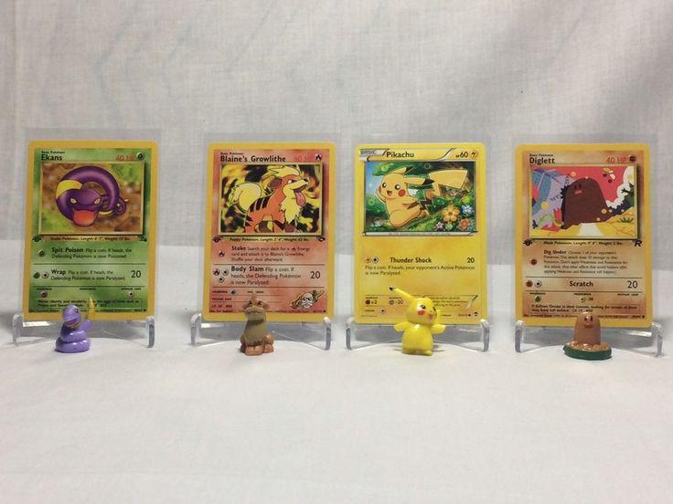 First edition pikachu pokemon tcg 4 card lot bonus mini