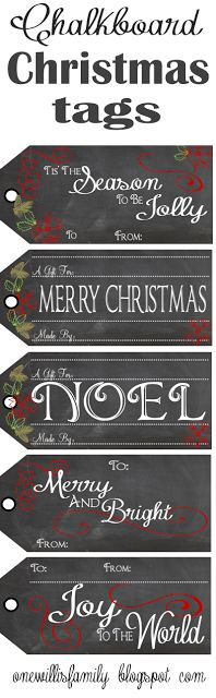 The Willis Family: Chalkboard Christmas Gift Tags #chalkboard #christmas #gift tags