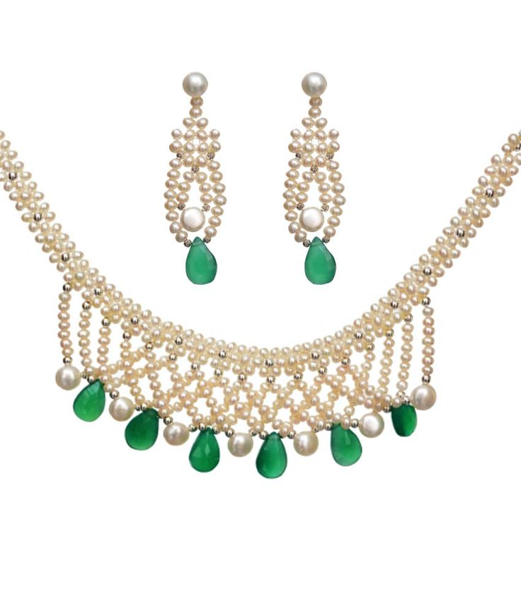 Alyzapearls White And Green Choker Necklace Set