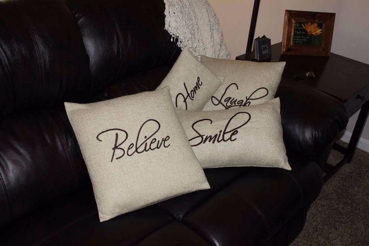 Life Sentiments Encouraging Words Tan Brown Throw Pillow Pillows Believe Love    eBay