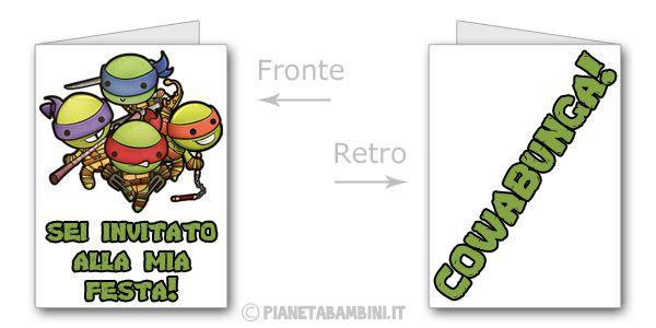 Biglietti delle Tartarughe Ninja da stampare gratis n.01