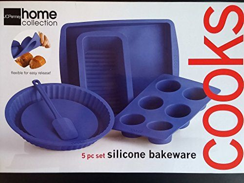 Silicone Baking Molds Set  5 Nonstick Silicone Bakeware set with Round Muffin and Rectangular Pans for Pies Cakes Loaf and More -- Check this awesome product by going to the link at the image.