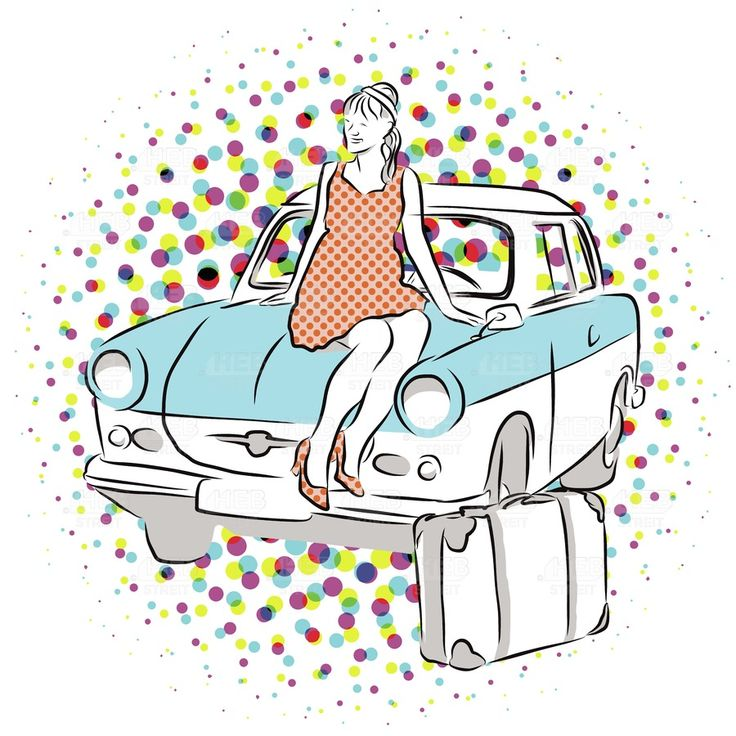 Woman and Old East German Car, Vintage Vector Hand Drawn Artwork