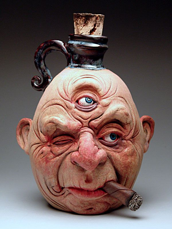 Ron Free Face Jug at MudFire Gallery