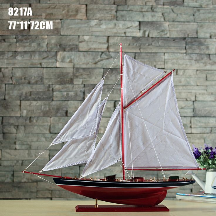 Ship Craft Wooden Sailboat Model Home Furnishing Wood Decorative Ornaments Mediterranean Style Decoration Retro Birthday Gift #Affiliate