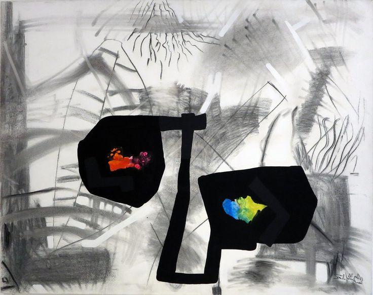 Szirtes János: A költség / The Expense 1988 – 115x145 cm  akril, szén, vászon l acrylic and charcoal on canvas