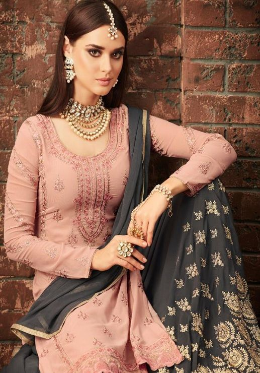 a7a11c52b0 Mohini Glamour Vol 57 Latest georgette with embroidery sharara suits  Collection 57003