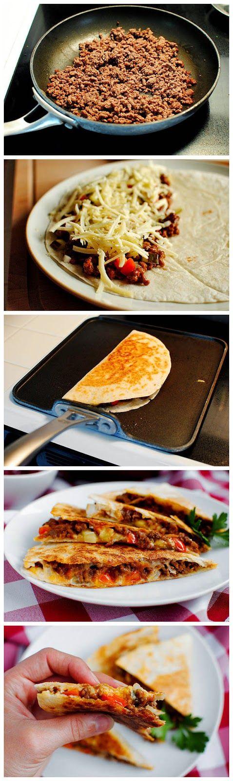 Cheeseburger Quesadillas - swap the bun for a No Preservatives Azteca tortilla in this creative and delicious recipe!