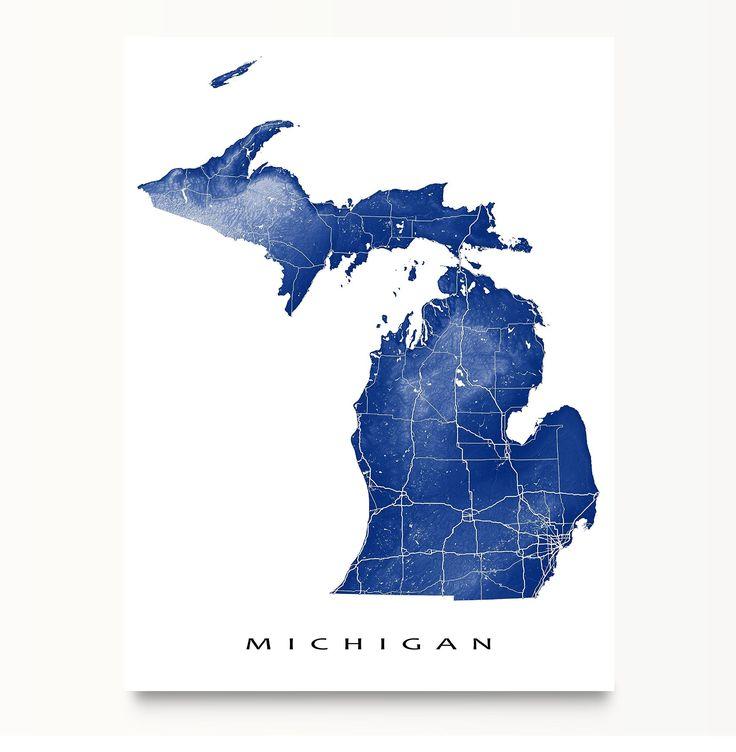 Michigan Map Print MI State Art Detroit USA Map Art Print - Detroit usa map