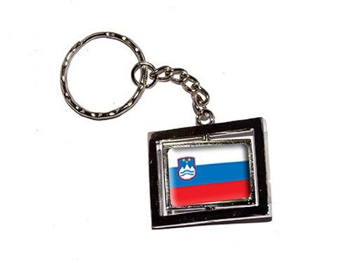 Slovenia Country Flag Spinning Rectangle Keychain, Men's, Grey