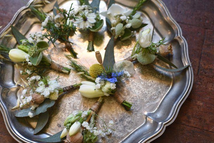 November Wedding, Buttonholes, spring flowers, Nigella, poppy pods
