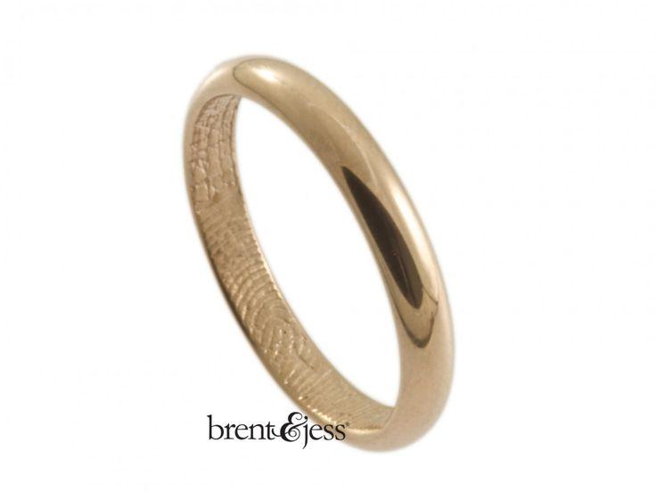 Stunning From brentjess k Rose Gold Low Dome Fingerprint Wedding Ring with