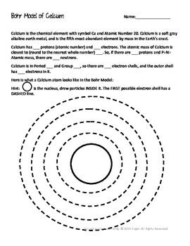 Worksheets Bohr Model Worksheet 25 best ideas about bohr model on pinterest science models calcium model