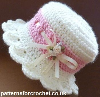 Free baby crochet pattern for brimmed hat from http://patternsforcrochet.co.uk/brimmed-hat-usa.html #patternsforcrochet