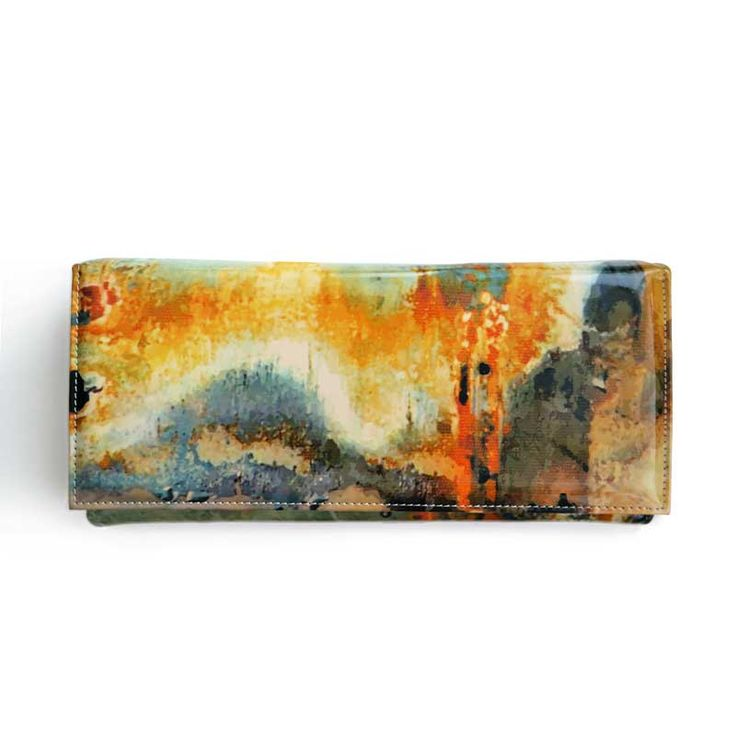 Rust inspiration clutch made from natural printed leather and printed silicone…