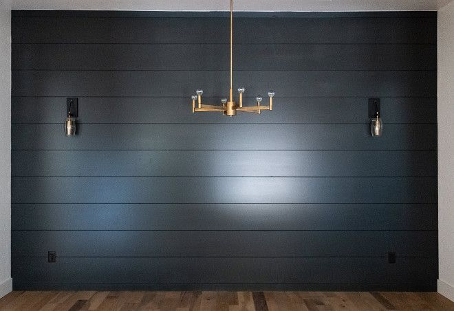 Black Shiplap Dining room with black shiplap accent wall ...