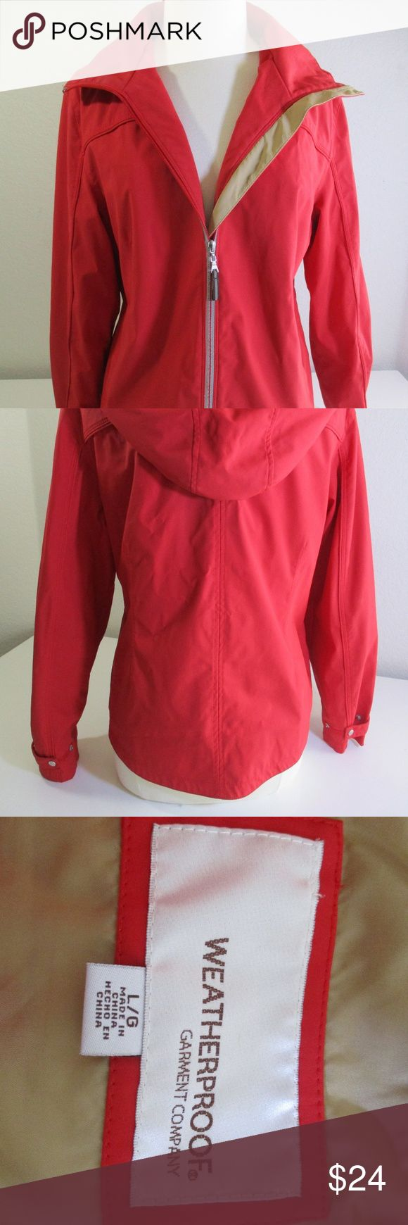 Weatherproof Rain Slicker Jacket Red Hooded sz L Weatherproof Garment Co  Rain Slicker, Windbreaker, Jacket Hooded  Red, Tan Women sz L Weatherproof Jackets & Coats Utility Jackets