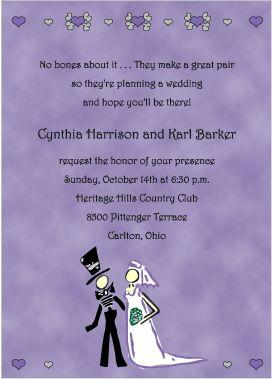 His And Hearse Halloween Wedding Invitations