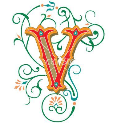 Floral Letter V Vector