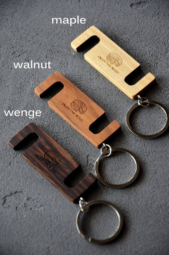 Custom Phone Stand Key Chain Personalized iPhone Holder Wood Office Gift for Coworker Friend Boyfriend Brother Student Fathers Day Gift