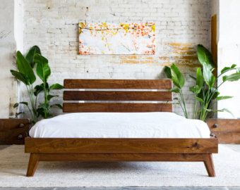 Modern Bed Bed Walnut Bed Midcentury Modern Bed door moderncre8ve